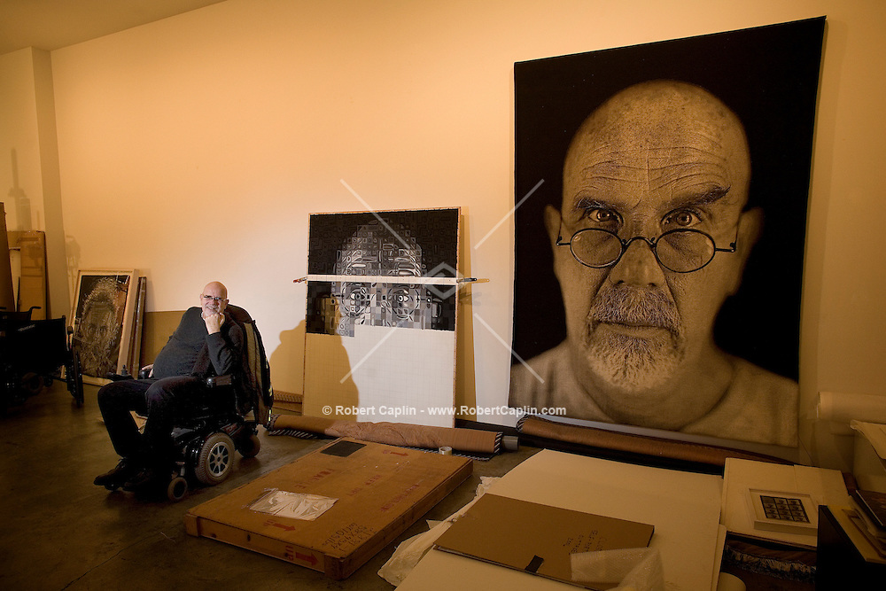 Chuck Thomas Close (born July 5, 1940, Monroe, Washington) is an American painter and photographer who achieved fame as a photorealist, through his massive-scale portraits. Though a catastrophic spinal artery collapse in 1988 left him severely paralyzed, he has continued to paint and produce work which remains sought after by museums and collectors. Photo taken in his Manhattan studio.