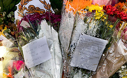 Flowers at the Aberfan Memorial Garden in Aberfan, Wales on the 50th anniversary of the tragedy.
