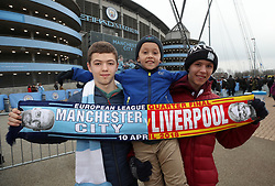 Young fans, Ben, Cameron and Jude before the UEFA Champions League, Quarter Final at the Etihad Stadium, Manchester.