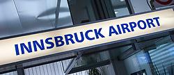 """THEMENBILD - der Schriftzug """"Innsbruck Airport"""" am Flughafen Innsbruck, Österreich, aufgenommen am 09.07.2015 // the logo """"Innsbruck Airport"""" at Innsbruck Airport, Austria on 2015/07/09. EXPA Pictures © 2015, PhotoCredit: EXPA/ Jakob Gruber"""