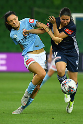 November 16, 2018 - Melbourne, Victoria, Australia - ADRIANA JONES (12) of Melbourne City and MELINDA BARBIERI (11) of Melbourne Victory fight for the ball in round 3 of the W-League competition between Melbourne City and Melbourne Victory during the 2018 season at AAMI Park, Melbourne, Australia. The Westfield W-League is Australia's national women's semi-professional soccer league. Melbourne Victory won 2-0. (Credit Image: © Sydney Low/ZUMA Wire)