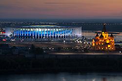 June 17, 2018 - Nizhny Novgorod, RUSSIA - 180617 Exterior view of Nizhny Novgorod Stadium and Alexander Nevsky Cathedral during the FIFA World Cup on June 17, 2018 in Nihzny Novgorod..Photo: Joel Marklund / BILDBYRN / kod JM / 87710 (Credit Image: © Joel Marklund/Bildbyran via ZUMA Press)
