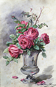 A Vase of Roses'. Watercolour: Madeleine Jeanne Lamaire (1845-1928) French flower painter and illustrator.  Full-blown pink roses in a silver vase.