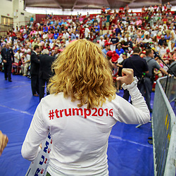 Mechanicsburg, PA – August 1, 2016: A Trump supporter wearing a hashtag shirt at the Donald J Trump political rally.