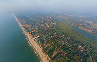 Aerial view of North Goa with beach and backwaters, India
