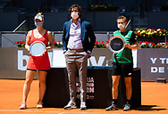 Gabriela Dabrowski of Canada and Demi Schuurs of the Netherlands with their runner up trophies after the Mutua Madrid Open 2021, Masters 1000 tennis tournament on May 8, 2021 at La Caja Magica in Madrid, Spain - Photo Rob Prange / Spain ProSportsImages / DPPI / ProSportsImages / DPPI