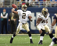 Saints quarterback Aaron Brooks (2) during game action against St. Louis at the Edward Jones Dome in St. Louis, Missouri, October 23, 2005.  The Rams beat the Saints 28-17.