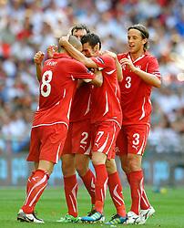 04.06.2011, Wembley Stadium, London, ENG, UEFA EURO 2012, Qualifikation, England vs Switzerland, im Bild Tranquillo Barnetta (R) of Switzerland celebrates his first  goal..England v Switzerland.Euro 2012 qualifying.Wembley Stadium. London. UK. 4/6/11. EXPA Pictures © 2011, PhotoCredit: EXPA/ IPS/ Sean Ryan +++++ ATTENTION - OUT OF ENGLAND/UK and FRANCE/FR +++++
