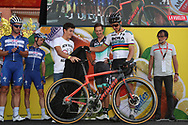 Marc Marquez (ESP) - Peter Sagan (SVK - Bora - Hansgrohe) during the 73th Edition of the 2018 Tour of Spain, Vuelta Espana 2018, 19th stage Lleida - Andorra 154,4 km on September 14, 2018 in Spain - Photo Luca Bettini / BettiniPhoto / ProSportsImages / DPPI