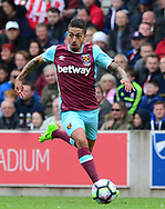 Manuel Lanzini of West Ham in action. Premier league match, Stoke City v West Ham Utd at the Bet365 Stadium in Stoke on Trent, Staffs on Saturday 29th April 2017.<br /> pic by Bradley Collyer, Andrew Orchard sports photography.