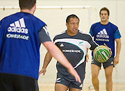 Keven Mealamu during a game of basketball before the pool session. Rugby - All Blacks pool session at QEII pool, Christchurch. Monday 2 August 2010. Photo: Joseph Johnson/PHOTOSPORT
