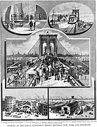 Brooklyn Suspension Bridge, New York: Designed and built by JA Roebling and his son WA Roebling, opened 1883. Wood engraving from 'Scientific American', New York, 14 July 1883.