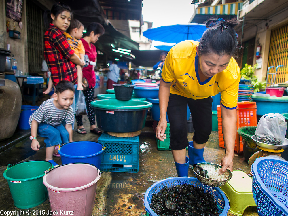 20 APRIL 2015 - BANGKOK, THAILAND:   A woman selling fish and eels Buddhists buy to release into a nearby canal in the Thonburi section of Bangkok. Releasing animals, frequently small birds buy also fish and reptiles, is a common way of making merit in Buddhist countries.   PHOTO BY JACK KURTZ