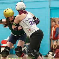 MRD Checkerbroads take on North Wales Roller Derby in the Tier 1 Womens North British Champs at University of Salford sports Centre, Salford, Greater Manchester, United Kingdom, 2020-02-01