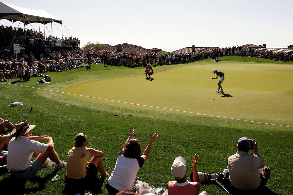 Lorena Ochoa reacts after sinking a birdie putt to take a one shot lead at the Safeway International near Phoenix, Arizona. Ochoa went on to beat Suzann Petersen by one stroke for her first victory of 2007...