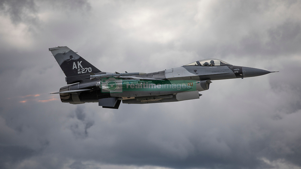 An F-16 Fighting Falcon assigned to the 18th Aggressor Squadron, Eielson Air Force Base, Alaska, takes off prior to a sortie as part of Red Flag Alaska, June 11, 2018. (U.S. Air National Guard photo by Tech. Sgt. John Winn)