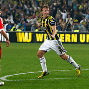 Fenerbahce's Dirk Kuyt (R) celebrates his goal  during their UEFA Europa League Semi Final first match Fenerbahce between Benfica at Sukru Saracaoglu stadium in Istanbul Turkey on Thursday 25 April 2013. Photo by Aykut AKICI/TURKPIX