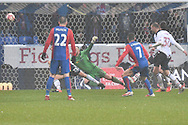 Shot cleared off the line  during the The FA Cup 3rd round match between Bolton Wanderers and Crystal Palace at the Macron Stadium, Bolton, England on 7 January 2017. Photo by Mark Pollitt.