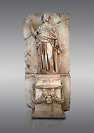 Roman Sebasteion relief sculpture of Krete Aphrodisias Museum, Aphrodisias, Turkey. <br /> <br /> The classical hairstyle, dress and pose characterises the figure of civilised and free, .<br /> <br /> If you prefer to buy from our ALAMY STOCK LIBRARY page at https://www.alamy.com/portfolio/paul-williams-funkystock/greco-roman-sculptures.html . Type -    Aphrodisias     - into LOWER SEARCH WITHIN GALLERY box - Refine search by adding a subject, place, background colour, museum etc.<br /> <br /> Visit our ROMAN WORLD PHOTO COLLECTIONS for more photos to download or buy as wall art prints https://funkystock.photoshelter.com/gallery-collection/The-Romans-Art-Artefacts-Antiquities-Historic-Sites-Pictures-Images/C0000r2uLJJo9_s0