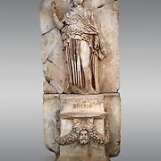 Roman Sebasteion relief sculpture of Krete Aphrodisias Museum, Aphrodisias, Turkey. <br /> <br /> The classical hairstyle, dress and pose characterises the figure of civilised and free,