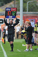 Substitution  during the EFL Sky Bet League 1 match between Accrington Stanley and Scunthorpe United at the Fraser Eagle Stadium, Accrington, England on 1 September 2018.