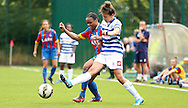 Mary Onianwa challenging for the ball during the Pre-Season Friendly match between Crystal Palace LFC and Queens Park Rangers Ladies at the The Stadium, Bromley, United Kingdom on 19 July 2015. Photo by Michael Hulf.
