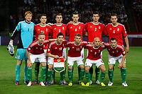 Fotball<br /> Ungarn v Nederland / Holland<br /> VM-kvalifisering<br /> 11.09.2012<br /> Foto: Gepa/Digitalsport<br /> NORWAY ONLY<br /> <br /> FIFA Weltmeisterschaft 2014 in Brasilien, Qualifikation, Ungarn vs Niederlande. <br /> <br /> Bild zeigt die Mannschaft von HUN mit Balazs Dzsudzsak, Zoltan Gera, Vladimir Koman, Jozsef  Varga und Vilmos Vanczak (vorne von links); Adan Bogdan, Zsolt Korcsmar, Tamas Priskin, Akos Elek, Zoltan Liptak und Roland Juhasz (HUN). <br /> Lagbilde Ungarn