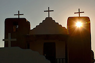 Winter in New Mexico..The San Geromino Church built in 1850 at the Taos Pueblo..Parts of the Pueblo date back to 1619.