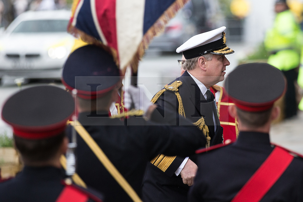 © Licensed to London News Pictures . 01/07/2016 . Manchester , UK . PRINCE ANDREW arrives at Manchester Cathedral for a commemoration service . Somme100 events in Manchester City Centre to commemorate the 100th anniversary of the first day of the Battle of the Somme . Photo credit : Joel Goodman/LNP