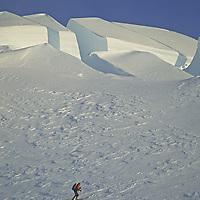 CORDILLERA SARMIENTO, Patagonia, Chile. Skier below crevasses on highest icecap of this previously unexplored range (Phillip Lloyd) (MR).
