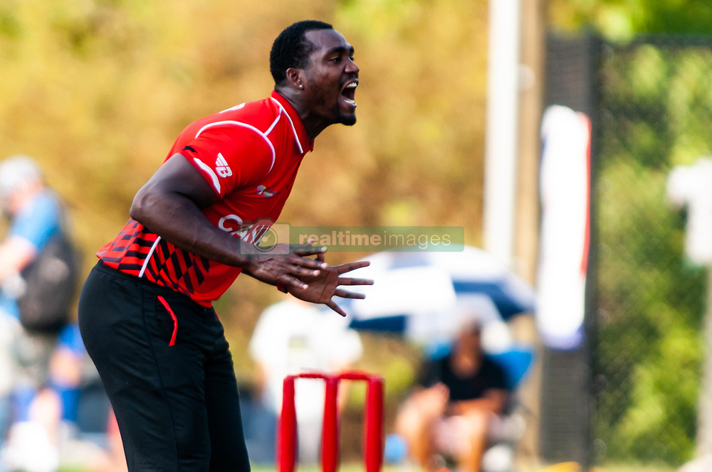 September 22, 2018 - Morrisville, North Carolina, US - Sept. 22, 2018 - Morrisville N.C., USA - Team Canada DILON HEYLIGER (20) reacts during the ICC World T20 America's ''A'' Qualifier cricket match between USA and Canada. Both teams played to a 140/8 tie with Canada winning the Super Over for the overall win. In addition to USA and Canada, the ICC World T20 America's ''A'' Qualifier also features Belize and Panama in the six-day tournament that ends Sept. 26. (Credit Image: © Timothy L. Hale/ZUMA Wire)