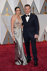 Luciana Barroso (L) and actor Matt Damon arriving for the 89th Academy Awards (Oscars) ceremony at the Dolby Theater in Los Angeles, CA, USA, February 26, 2017. Photo by Lionel Hahn/ABACAPRESS.COM