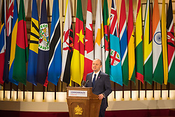 Prime Minister of Malta Joseph Muscat makes a speech during the formal opening of the Commonwealth Heads of Government Meeting in the ballroom at Buckingham Palace in London.