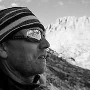 Photographer and climber Jerry Dodrill assesses the Evolution Traverse from Evolution Valley.