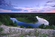 Nightfall over a bend in the Au Sable River