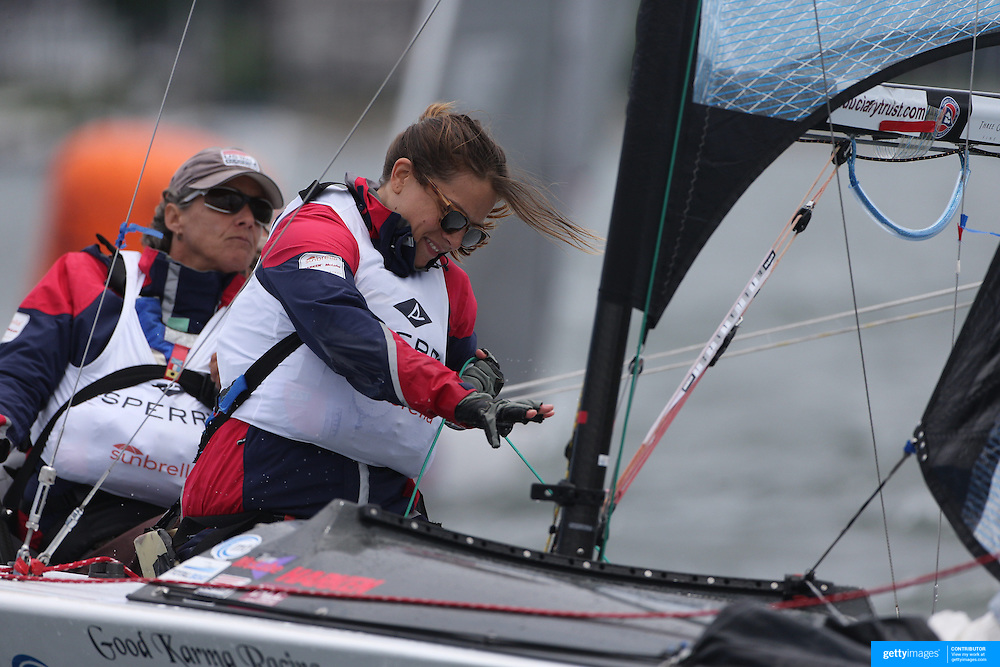 Skipper Sarah Everhart Skeels, Tiverton, RI, and Cindy Walker, (front), Middletown, RI, the only all female team competing in The Skud 18 class, in action during the C. Thomas Clagett, Jr. Memorial Clinic & Regatta at Newport, Rhode Island hosted by Sail Newport at Fort Adams. <br /> The Clagett is North America's premier event for sailors with disabilities with sailors competing in the 3 Paralympic class boats and is an integral part of preparation for athletes preparing for  Paralympic and world championship racing. Newport, Rhode Island, USA. 26th June 2015. Photo Tim Clayton