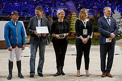 Jung Michael, Glötz Mirko, Mrs Glötz, Brandtner Nadine, Pedersen Jan<br /> WBFSH Prize Giving<br /> CHI de Genève 2017<br /> © Hippo Foto - Dirk Caremans<br /> 09/12/2017