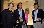 Edward Lawson-Johnston, Charles Gilkes  and Oscar Humphries, Lalique Twenties launch, New Bond St. 4 June 2003. © Copyright Photograph by Dafydd Jones 66 Stockwell Park Rd. London SW9 0DA Tel 020 7733 0108 www.dafjones.com