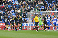 Wigan players celebrate the opening goal scored by Arouna Kone (not in pic). Barclays Premier league, Reading v Wigan Athletic at the Madejski Stadium in Reading on Saturday 23rd Feb 2013. pic by Andrew Orchard, Andrew Orchard sports photography,