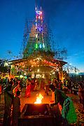 Sri Lanka. Lighting on temporary Gopuram. Mamangeshwarar Temple festival. Batticaloa