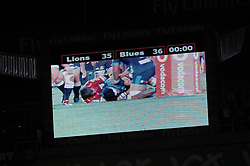 10/03/2018 The score seconds before the final whistle blew. Gauteng Lions vs the Auckland Blues at Emirates Airlines Stadium, Ellis Park, Johannesburg, South Africa. Picture: Karen Sandison/African News Agency (ANA)
