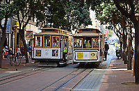 Cable cars pass on Powell Street, San Francisco, California, USA, 201304131315<br /> <br /> Copyright Image from Victor Patterson, 54 Dorchester Park, Belfast, UK, BT9 6RJ<br /> <br /> Tel: +44 28 9066 1296<br /> Mob: +44 7802 353836<br /> Voicemail +44 20 8816 7153<br /> Skype: victorpattersonbelfast<br /> Email: victorpatterson@me.com<br /> Email: victorpatterson@ireland.com (back-up)<br /> <br /> IMPORTANT: If you wish to use this image or any other of my images please go to www.victorpatterson.com and click on the Terms & Conditions. Then contact me by email or phone with the reference number(s) of the image(s) concerned.