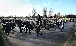 © Licensed to London News Pictures. 09/12/2015. London, UK. The coffin being carried to a burial service in a carriage.... The funeral of former brothel keeper Cynthia Payne takes place at the South London Crematorium.  In 1980 Cynthia Payne was sentenced to 18 months for running a brothel at her house on Ambleside Avenue in Streatham. It was alleged, at the time, that judges and Members of Parliament were visitors to her establishment. Photo credit: Peter Macdiarmid/LNP
