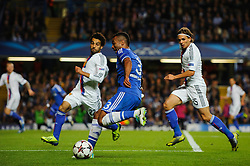 Chelsea Defender Ashley Cole (ENG) shoots during the second half of the match - Photo mandatory by-line: Rogan Thomson/JMP - Tel: 07966 386802 - 18/09/2013 - SPORT - FOOTBALL - Stamford Bridge, London - Chelsea v FC Basel - UEFA Champions League Group E