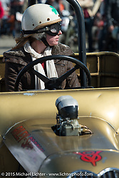 Erin Erinham in her 1923 Ford Model T Roadster at the Race of Gentlemen. Wildwood, NJ, USA. October 10, 2015.  Photography ©2015 Michael Lichter.