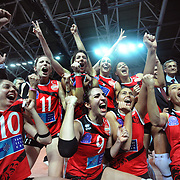 Vaakifbank GS TT players with Women's Volleyball CEV Champions League final for trophy after winning during their Women's Volleyball CEV Champions League semi final match at Burhan Felek Arena in Istanbul, Turkey on 20 March 2011. Photo by TURKPIX