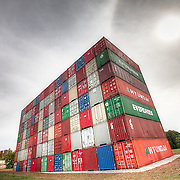 IOU/USA Temporary shipping container art display by John Salvest at Penn Valley Memorial Park across from the Federal Reserve building in Kansas City, Misssouri.