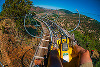Canyon flyer, an alpine rollercoaster, Glenwood Cavern Adventure Park, Iron Mountain, above Glenwood Springs, Colorado USA