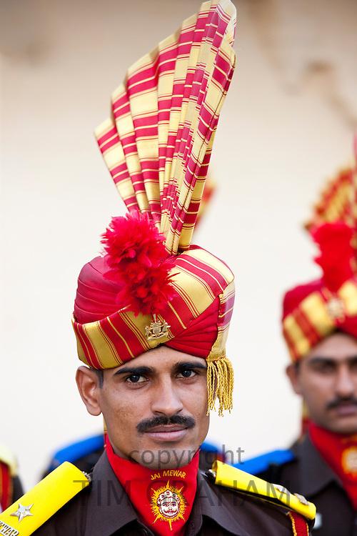 Jai Mewar ceremonial guard of 76th Maharana of Mewar, His Highness, Shriji Arvind Singh Mewar of Udaipur, at the City Palace, Rajasthan, India