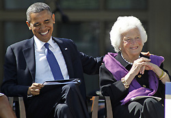 Former first lady Barbara Bush, wife of former President George H.W. Bush and mother of former President George W. Bush, died Tuesday at her home in Houston. She was 92. Barbara Bush had been in failing health, suffering from congestive heart failure and chronic obstructive pulmonary disease. George and Barbara, who celebrated their 73rd wedding anniversary on Jan. 6, hold the record for the longest-married presidential pair. Mrs. Bush was known for her wit and emphasis on family. One of her primary causes was literacy. She founded the Barbara Bush Foundation for Family Literacy in 1989 to carry forth her legacy in the cause for literacy. PICTURED: April 25, 2013 - Dallas, Texas, U.S. - President BARACK OBAMA pats BARBARA BUSH on the back during the dedication ceremonies for the new G. W. Bush Presidential Center. (Credit Image: © Paul Moseley/TNS/ZUMAPRESS.com)